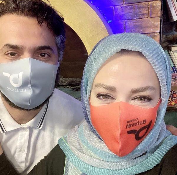 سلفی بهاره رهنما و حاجی با ماسک هایی جالب /عکس