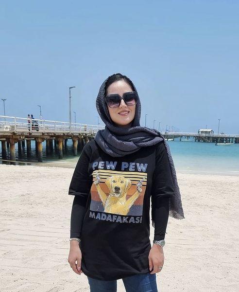 تی شرت متفاوت هانیه غلامی در کیش /عکس