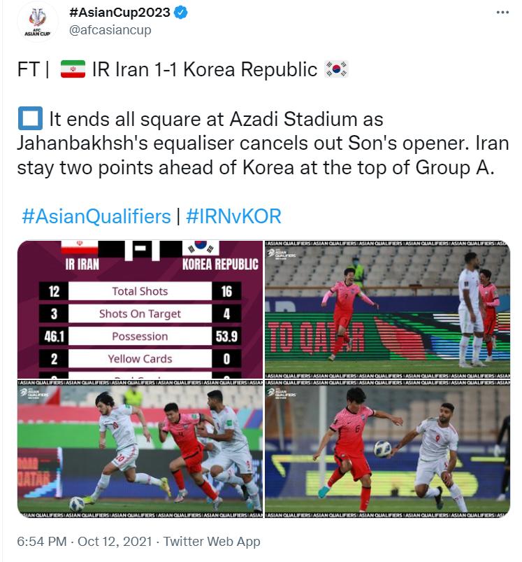 واکنش AFC به تساوی ایران و کره +عکس
