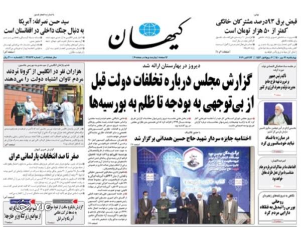 روزنامه های امروز 21 مهر ماه 1400