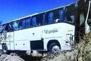 انحراف اتوبوس از جاده ۱۰ مصدوم برجای گذاشت