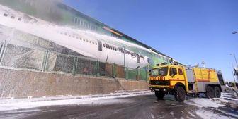 آتشسوزی یک فروند هواپیمای اسقاطی در فرودگاه امام