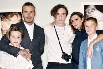 بکهام و خانواده اش درپشت صحنه سریال مشهور آمریکایی/عکس