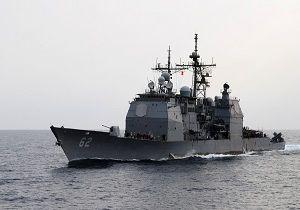 عبور خطرناک رزمناو آمریکایی از نزدیک کشتی جنگی روسی