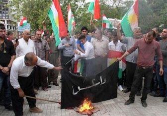 کردها پرچم داعش و ترکیه را به آتش کشیدند + عکس