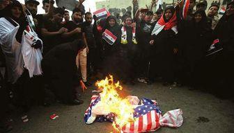 تظاهرات مردم عراق در محکومیت تجاوز نظامی آمریکا به سوریه