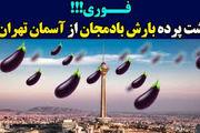 پشت صحنه ساخت ویدئوی جنجالی بارش بادمجان از آسمان تهران!/ فیلم