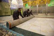 غبارروبی حرم قمربنی هاشم(ع) در آستانه میلاد حضرت زهرا(س)/ گزارش تصویری