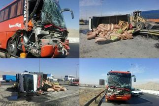 شمار مصدومان تصادف اتوبوس در آزادراه کرج به ۱۷ نفر رسید