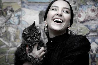 نشستن خانم بازیگر وسط خیابان برای گرفتن عکس با گربه ها/ عکس