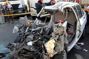 راننده در تصادف زنجیره ای سوخت