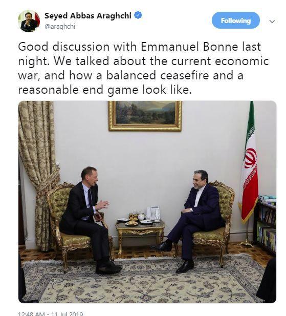 توئیت عراقچی از دیدارش با مشاور دیپلماتیک ماکرون