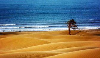 نمایی شگفت انگیز از تلاقی کویر و دریا در چابهار/عکس