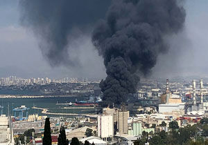 آتش سوزی در تاسیسات ذخیرهسازی نفت در فلسطین