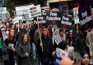 تظاهرات مردم لندن در محکومیت جنایتهای رژیم صهیونیستی
