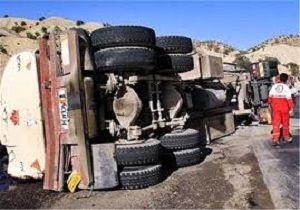 تانکر حامل مواد نفتی واژگون شد