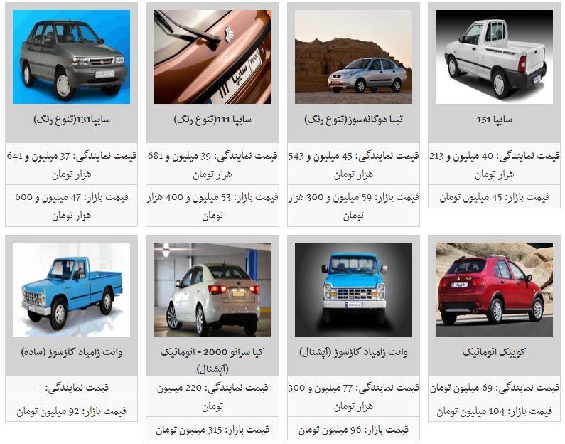 قیمت خودروهای داخلی در بازار (۹۸/۳/۱۸)