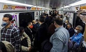 واکنش عجیب به علت شلوغی متروی تهران در روز اول محدودیت کرونا+فیلم