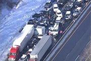 تصادف زنجیرهای ۲۰ خودرو در مشهد
