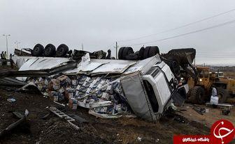 واژگونی سه دستگاه تریلی ترکیه ای + تصاویر